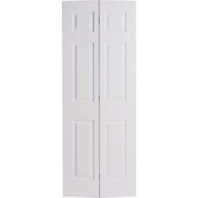 Masonite 24 In. W x 79 In. H Textured Hardboard Primed White 6-Panel 2-Door Bifold Door