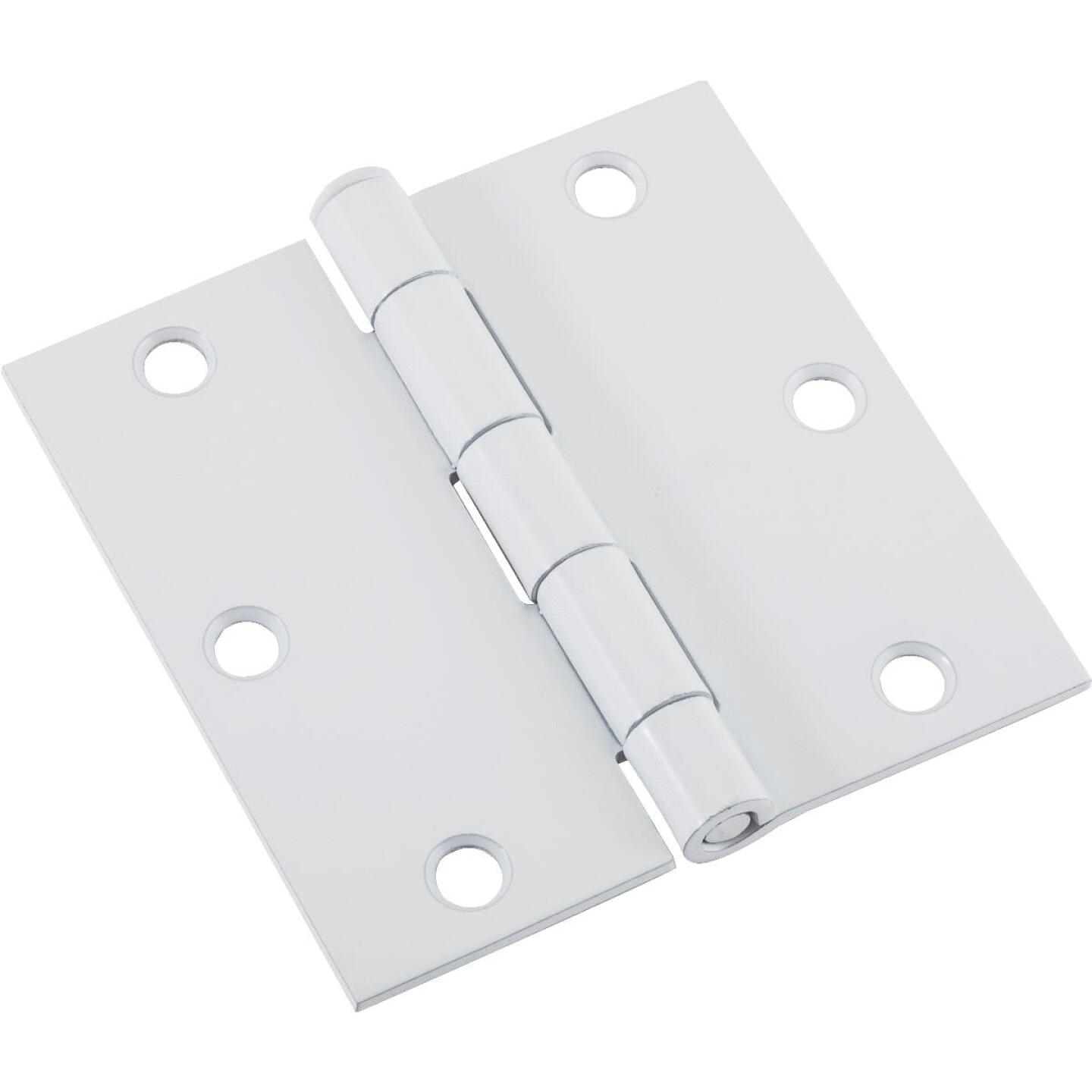 National 3-1/2 In. Square White Door Hinge Image 1