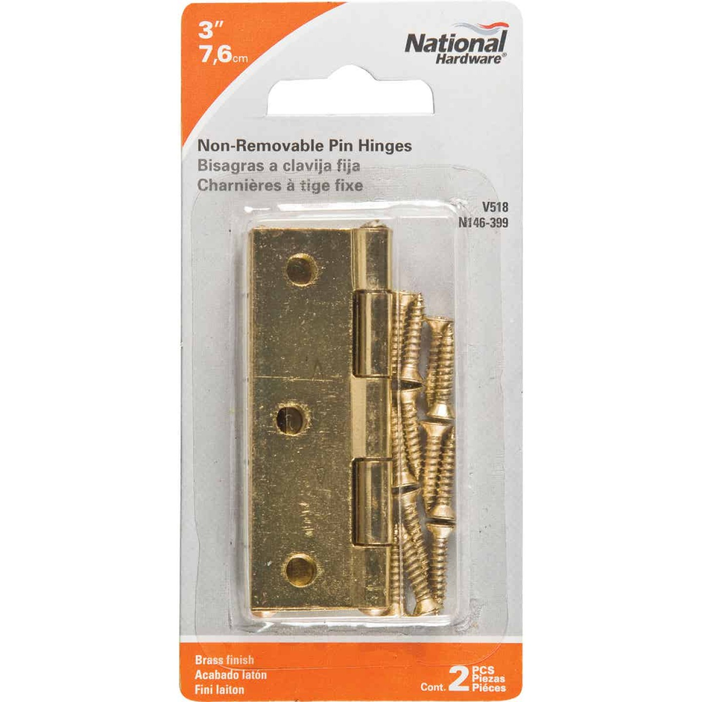 National 3 In. Brass Tight-Pin Narrow Hinge (2 Count) Image 2