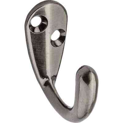 National Pewter Single Clothes Wardrobe Hook, 2 per Card