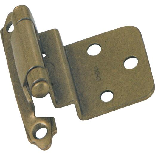 Laurey Antique Brass 3/8 In. Self-Closing Inset Hinge, (2-Pack)