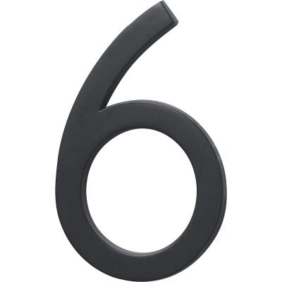 Hy-Ko Architectural Series 6 In. Satin Black House Number Six