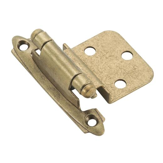 Amerock Burnished Brass 3/8 In. Self-Closing Inset Hinge, (2-Pack)