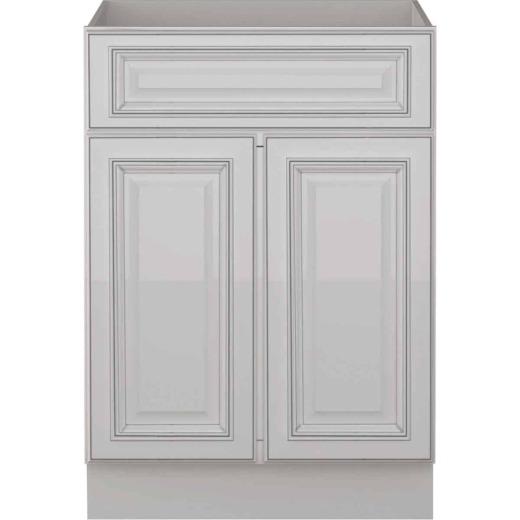 Sunny Wood Riley White with Dover Glaze 24 In. W x 34-1/2 In. H x 21 In. D Vanity Base, 2 Door