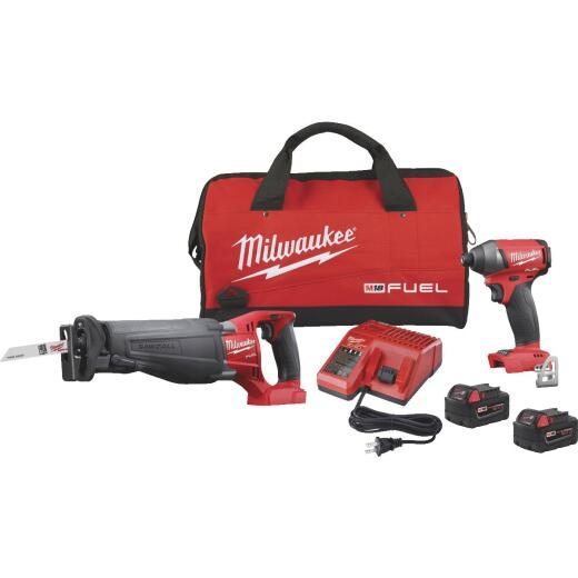 Milwaukee 2-Tool M18 FUEL Lithium-Ion Brushless Reciprocating Saw and Impact Driver Cordless Tool Combo Kit
