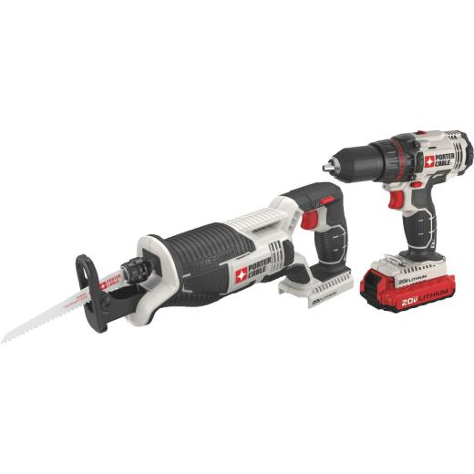 Porter Cable 2-Tool 20V Max Lithium-Ion Drill/Driver & Reciprocating Saw Cordless Tool Combo Kit