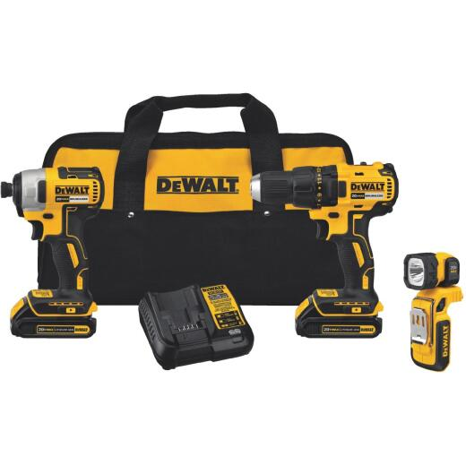 DeWalt 3-Tool 20V MAX Lithium-Ion Brushless Drill/Driver, Impact Driver & Work Light Cordless Tool Combo Kit