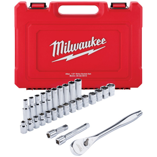 Milwaukee Metric 1/2 In. Drive 6-Point Ratchet & Socket Set (28-Piece)