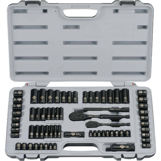 Stanley Standard/Metric 1/4 In. Drive & 3/8 In. Drive Black Chrome Combination Ratchet & Socket Set (69-Piece)
