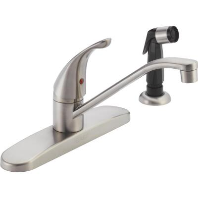 Peerless Single Handle Lever Kitchen Faucet with Black Side Spray, Stainless