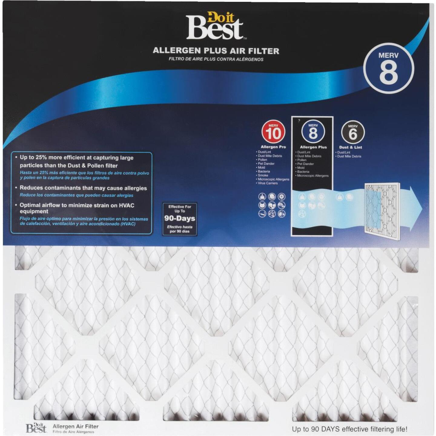 Do it Best 20 In. x 25 In. x 1 In. Allergen Plus MERV 8 Furnace Filter Image 1