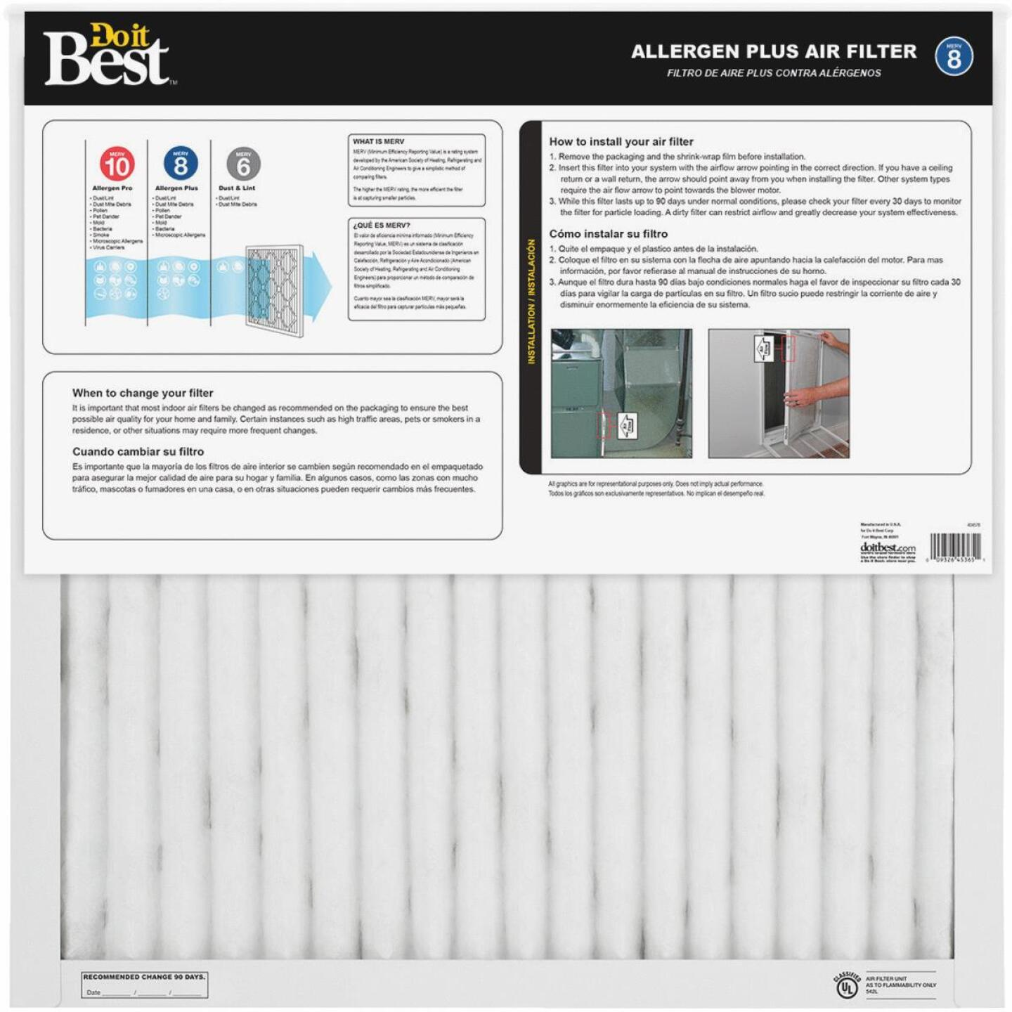 Do it Best 20 In. x 25 In. x 1 In. Allergen Plus MERV 8 Furnace Filter Image 2