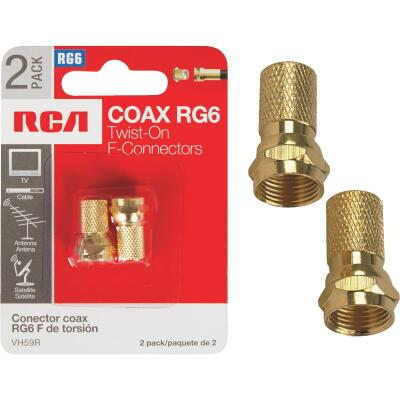 RCA RG Twist-On Coaxial F-Connector (2-Pack)