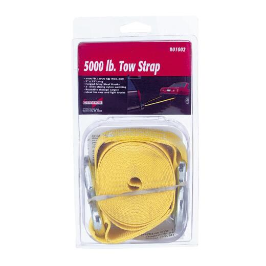 Erickson 2 In. x 15 Ft. 2500 Lb. Polyester Tow Strap with Hooks, Yellow