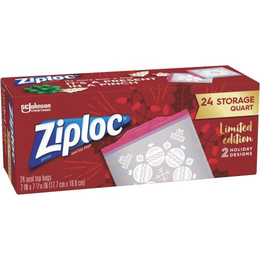 Ziploc Quart Press Seal Holiday Storage Bag (24 Count)