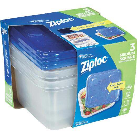 Ziploc 1.25 Qt. Clear Square Food Storage Container with Lids (3-Pack)