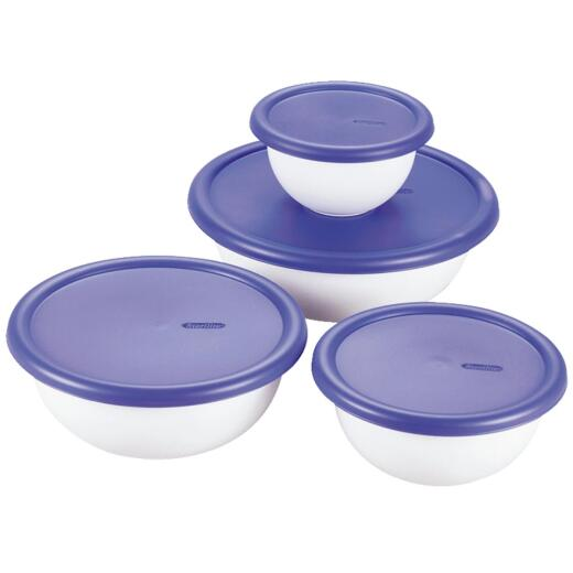 Sterilite Covered Plastic Bowl Set (8-Piece)