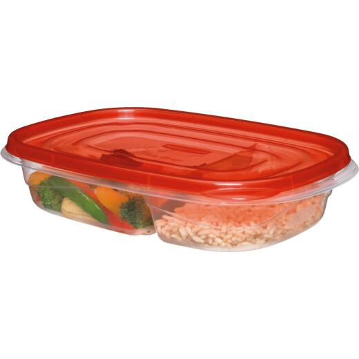 Rubbermaid 3.7 C. Clear Square Divided Food Storage Container with Lids (3-Pack)
