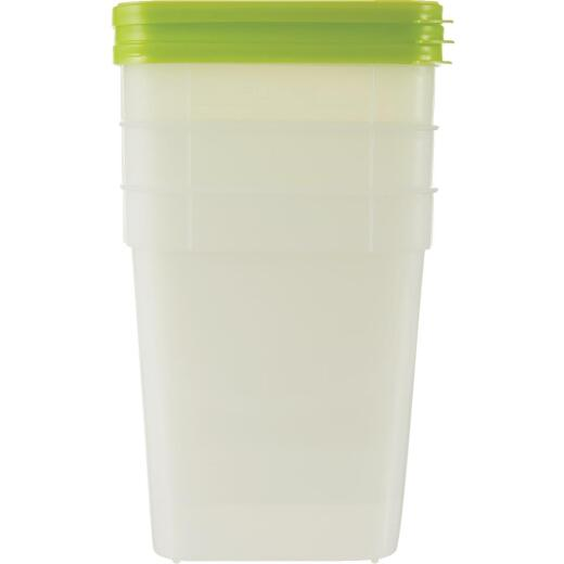 Stor Keeper 1 Qt. Clear Square Freezer Food Storage Container with Lids (3-Pack)