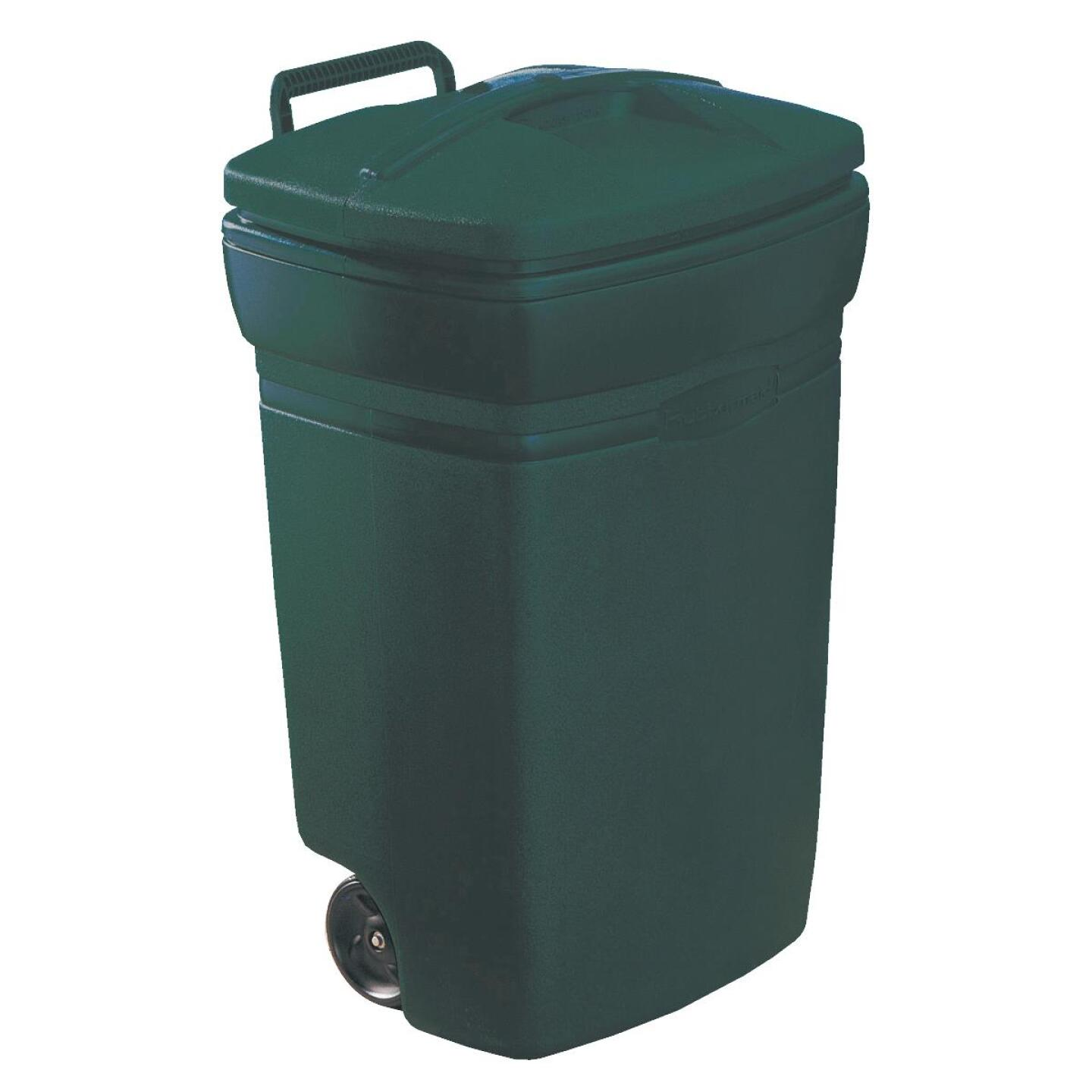 Rubbermaid 45 Gal. Green Wheeled Trash Can with Lid Image 1