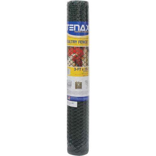 Tenax 3/4 In. x 3 Ft. H. x 25 Ft. L. Hexagonal Plastic Poultry Netting Fence, Green