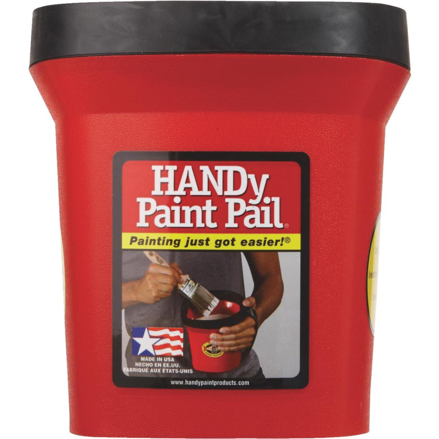 HANDy Paint Pail 1 Qt. Red Painter's Bucket w/Adjustable Strap And Magnetic Brush Holder Image 4