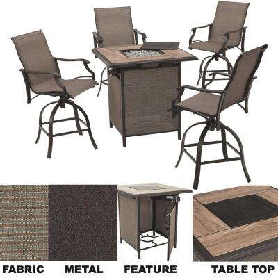 Outdoor Expressions Northcliffe 5-Piece Steel Swivel Chair Fire Pit Chat Set