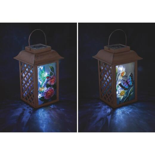 Outdoor Expressions 6 In. W. x 9.5 In. H. x 6 In. D. Solar Patio Latern