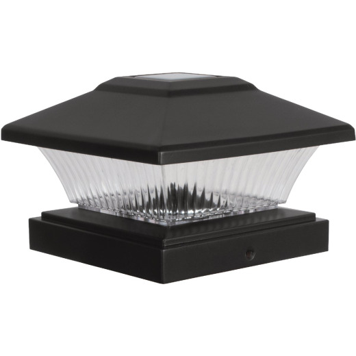 Fusion 4 In. x 4 In. Black Solar LED Post Cap
